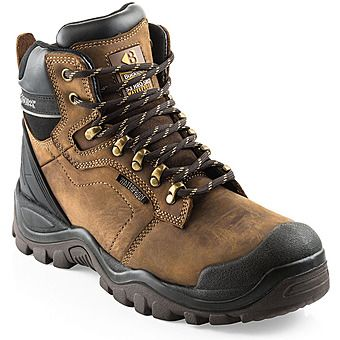 Picture of Buckshot Steel Toe Safety Boots Brown Crazy Horse Leather S3 HRO WRU SRC