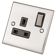 SelectRic Satin Chrome Switched Single Socket with Black Inserts