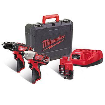 Milwaukee M12BPP2B-202C 12v Combi & Impact Driver Twinpack 2 x 2.0Ah Batteries