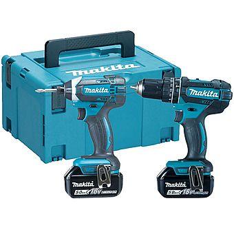 Makita DLX2131TJ 18v Combi Drill & Impact Driver Twinpack 2 x 5.0Ah Batteries (DHP482 & DTD152)