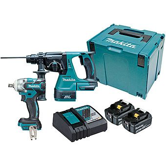 Makita DLX2268TJ Brushless 18v DHR242 SDS+ Hammer Drill & DTW285 Impact Wrench 2 x 5.0Ah Batteries