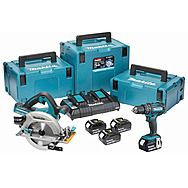 Makita DLX2140PMJ 18v Combi Drill & 190mm 36v Circular Saw 4 x 4.0Ah Batteries (DHS710 & DHP482)