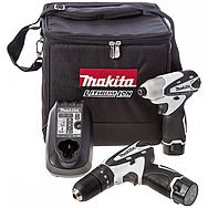 Makita DK1493WX 10.8v White Combi Drill & Impact Driver Twinpack 2 x 1.3Ah Batteries
