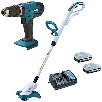 Makita HP457D G-Series 18v Combi Hammer Drill + Free UR180D Strimmer & 2nd Battery