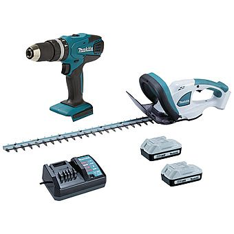 Makita HP457D G-Series 18v Combi Hammer Drill + Free UH522D Hedge Trimmer & 2nd Battery