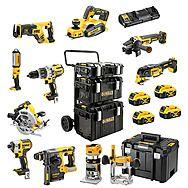 DeWalt 10 Piece 18v XR Power Tool Kit 4 x 5.0Ah Batteries - DCK853P4 + DCW604 + DCP580