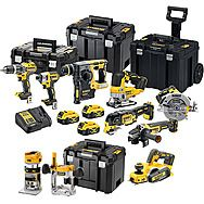 DeWalt 18V XR 9 Piece Power Tool Kit 3 x 5.0Ah Batteries - DCK755P3T + DCP580 + DCW604