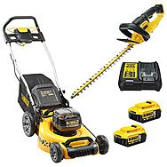 DeWalt 18v XR Lawnmower & Hedge Trimmer & 2 x 5.0Ah Batteries (DCMW564 & DCM563)