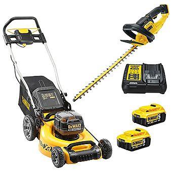 DeWalt 18v XR Lawn Mower & Hedge Trimmer & 2 x 5.0Ah Batteries (DCMW564 & DCM563)