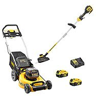 DeWalt 18v Brushless Lawn Mower & Strimmer Combo 2 x 5.0Ah Batteries (DCMW564 & DCM561)
