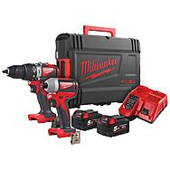 Milwaukee M18BLPP2A2502X 18v Combi Drill Impact Driver Twinpack 2 x 5.0Ah Batteries M18BLPD2 M18BLID2