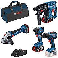 Bosch 0615990M2B 18v 4 Piece Brushless Cordless Kit 3 x 4.0Ah Batteries