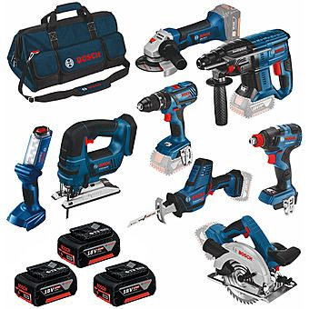 Bosch 0615990K9G 8 Piece 18v Cordless Powertool Kit 3 x 4.0Ah Batteries