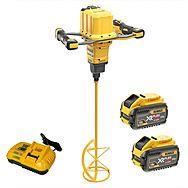 DeWalt DCD240X2 54V XR Flexvolt Brushless Cordless Paddle Mixer & 2x 9.0Ah XR Flexvolt Batteries