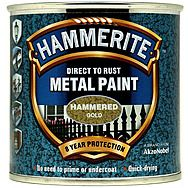 Hammerite Direct To Rust Metal Paint Hammered Gold 0.25 Litres