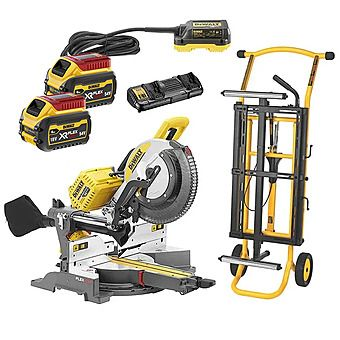 Picture of Dewalt DHS780T2 54V 250mm Mitre Saw Kit With Stand, 2x 6.0Ah Batteries & AC Adaptor