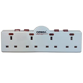 Omega 1-to-4 Way Switched Socket Converter Adaptor