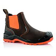 Buckbootz BuckzViz BVIZ3 Brown & Orange Safety Dealer Boots