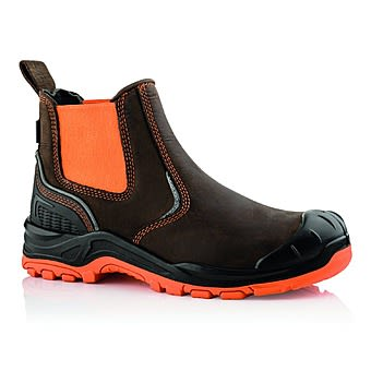 Picture of Buckbootz BuckzViz BVIZ3 Brown & Orange Safety Dealer Boots