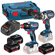 Bosch 0 601 9G4 273 18v Combi Drill & Impact Wrench/Driver Twinpack With 3 x 5.0Ah Batteries