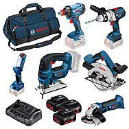 Bosch 6 Piece 18v Cordless Kit 3 x 4.0Ah Batteries 0 615 990 L1M
