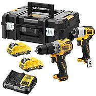 DeWalt DCK2111L2T XR 12v Combi Drill & Impact Driver Brushless Twinpack 2 x 3.0Ah Batteries 10.8v Compatible