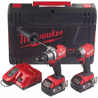 Milwaukee M18 FPP2A2-502X FUEL Combi Hammer Drill & Impact Driver 2 x 5.0Ah Batteries   4933464269