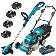 Makita Cordless 18v Lawnmower & Strimmer Pack 4 x 5.0Ah Batteries