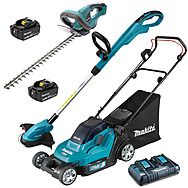 Makita 18v LXT Lawnmower, Strimmer & Hedgetrimmer - 2 x 5.0Ah Batteries