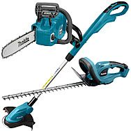 Makita Cordless LXT Chainsaw, Grass & Hedge Trimmer