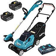 Makita 18v Cordless Lawnmower & Strimmer Kit 2 x 5.0Ah Batteries