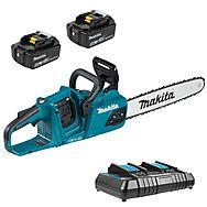Makita DUC355PT2 36v (18v x2) 350mm Chainsaw 2 x 5.0Ah Batteries