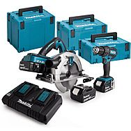 Makita DLX2140PMJ 18v Combi Drill & 190mm 36v Circular Saw 4 x 4.0Ah Batteries (DHS710 & DHP482)