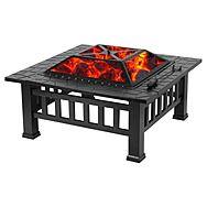 "Humlin 32"" Square Fire Pit, BBQ & Ice Box"