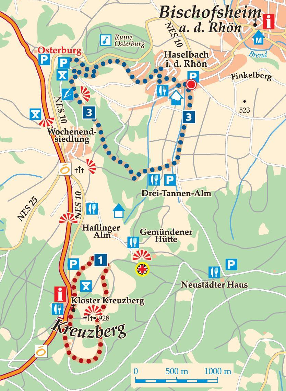 Rhön-Rundweg 1 Kreuzberg Karte