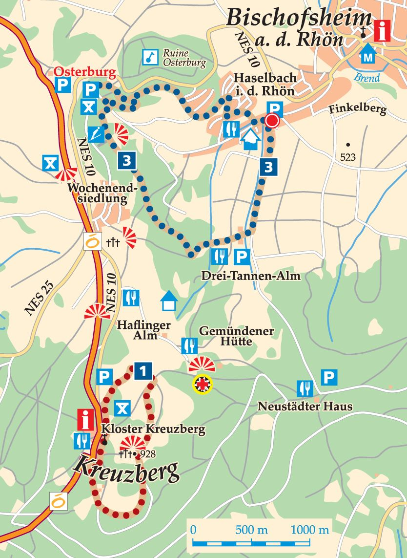 Rhön-Rundweg 3 Haselbach Karte