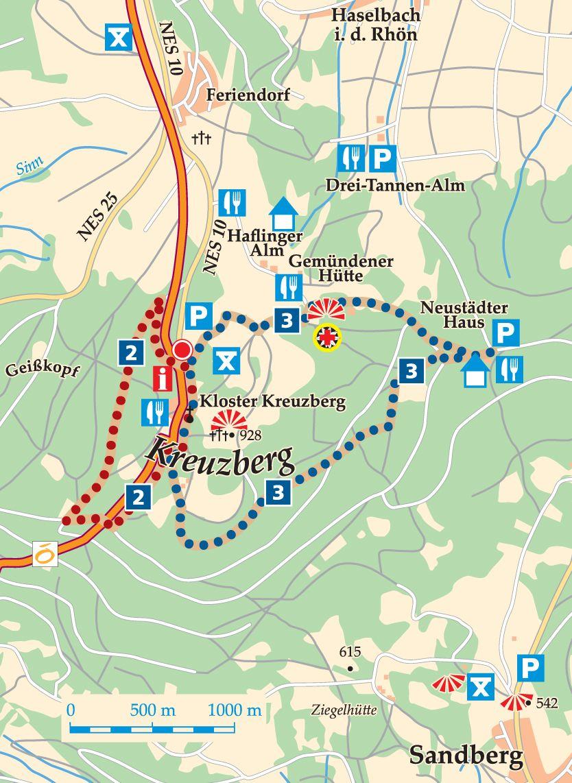 Rhön-Rundweg 3 Kreuzberg Karte