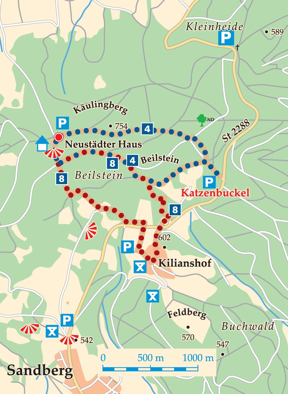 Rhön-Rundweg 8 Kilianshaus Karte