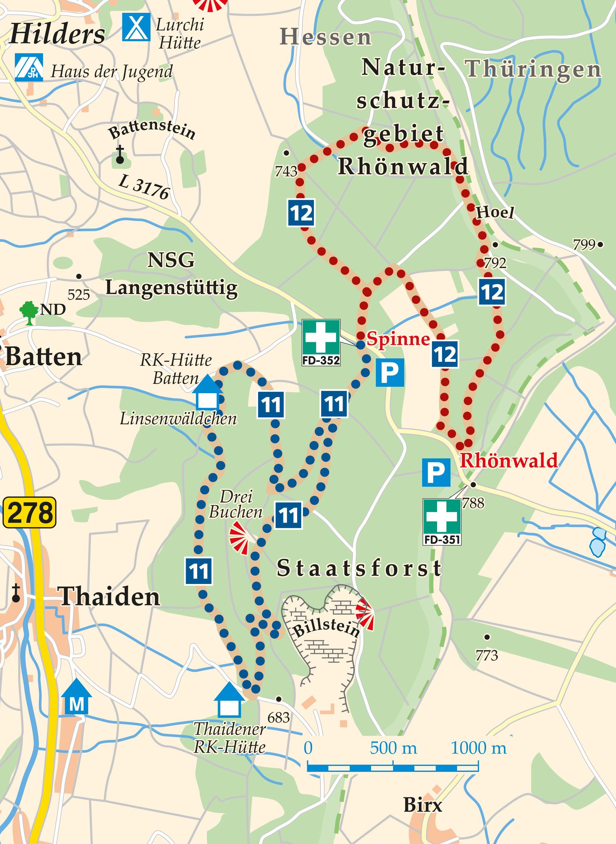 Rhön-Rundweg 12 Rhönwald Karte