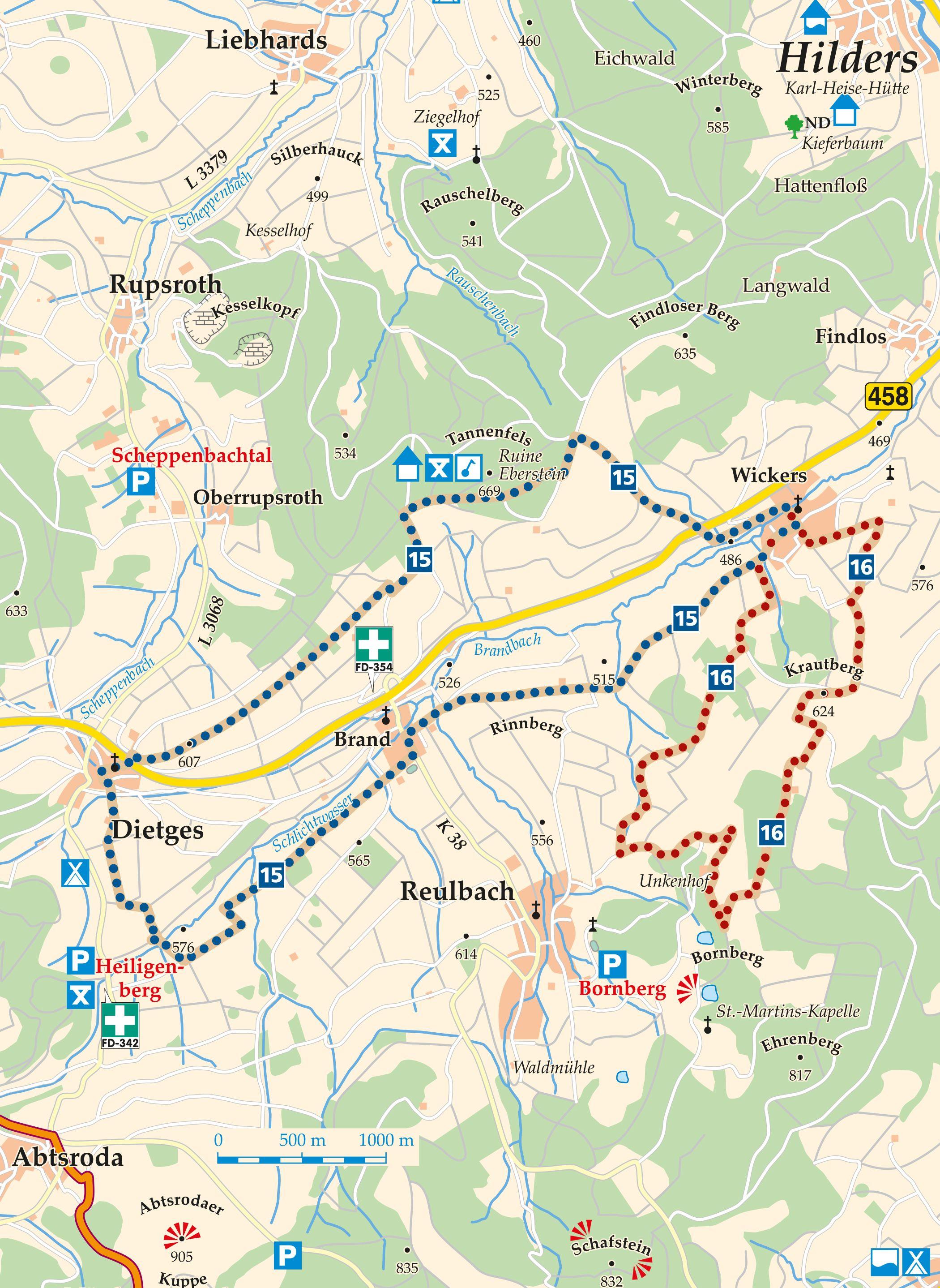 Rhön-Rundweg 16 Brandbachbrücke Karte
