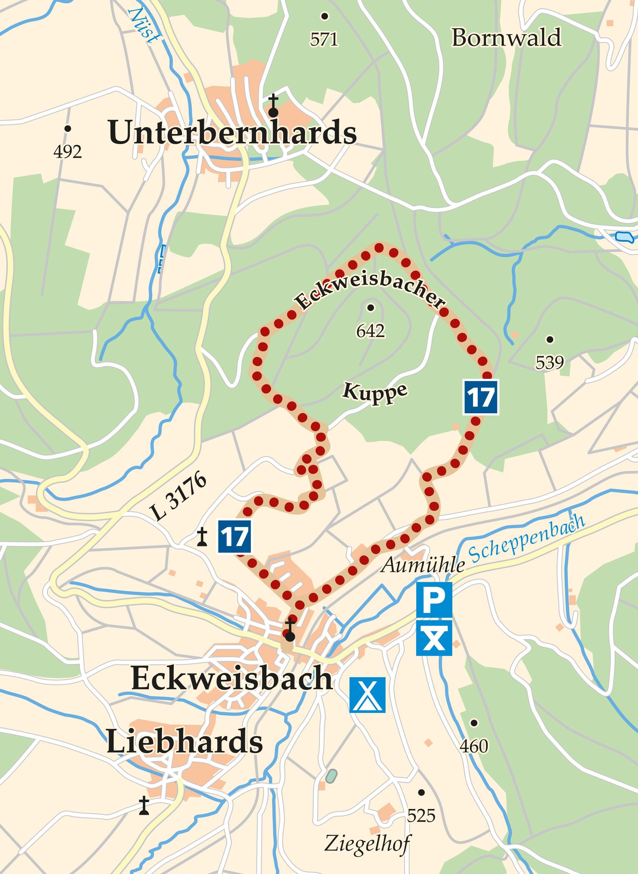 Rhön-Rundweg 17 Eckweisbach Karte