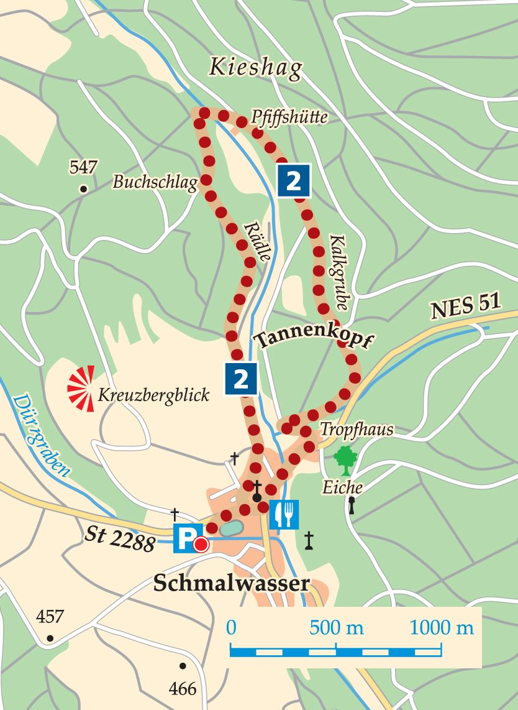 Rhön-Rundweg 2 Walddörfer Karte