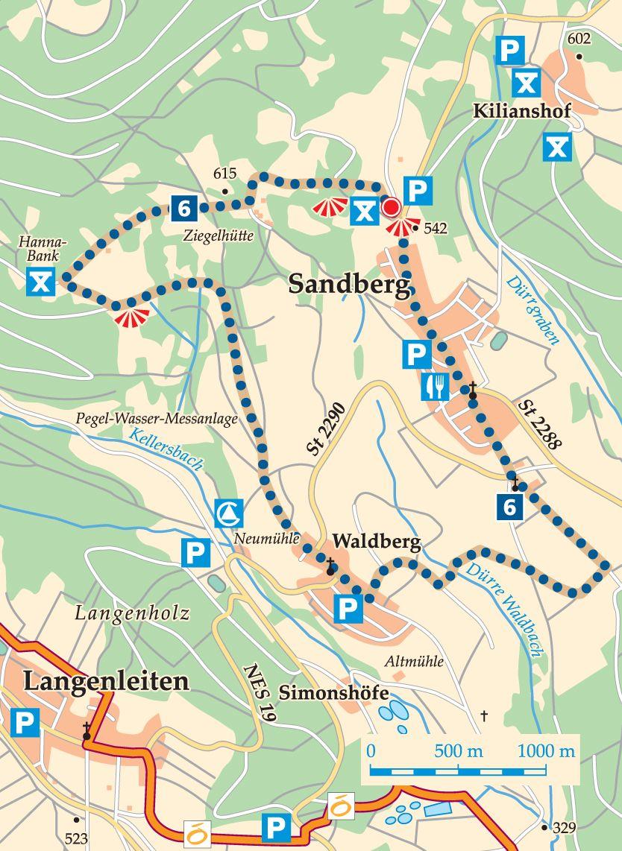 Rhön-Rundweg 6 Walddörfer Karte