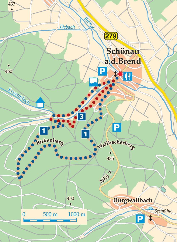 Rhön-Rundweg 1 Schönau an der Brend Karte