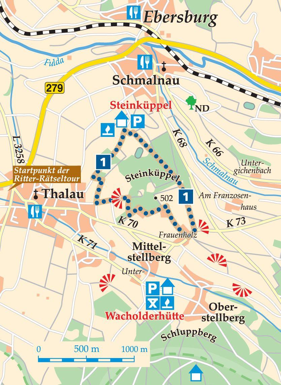 Rhön-Rundweg 1 Steinküppel Karte