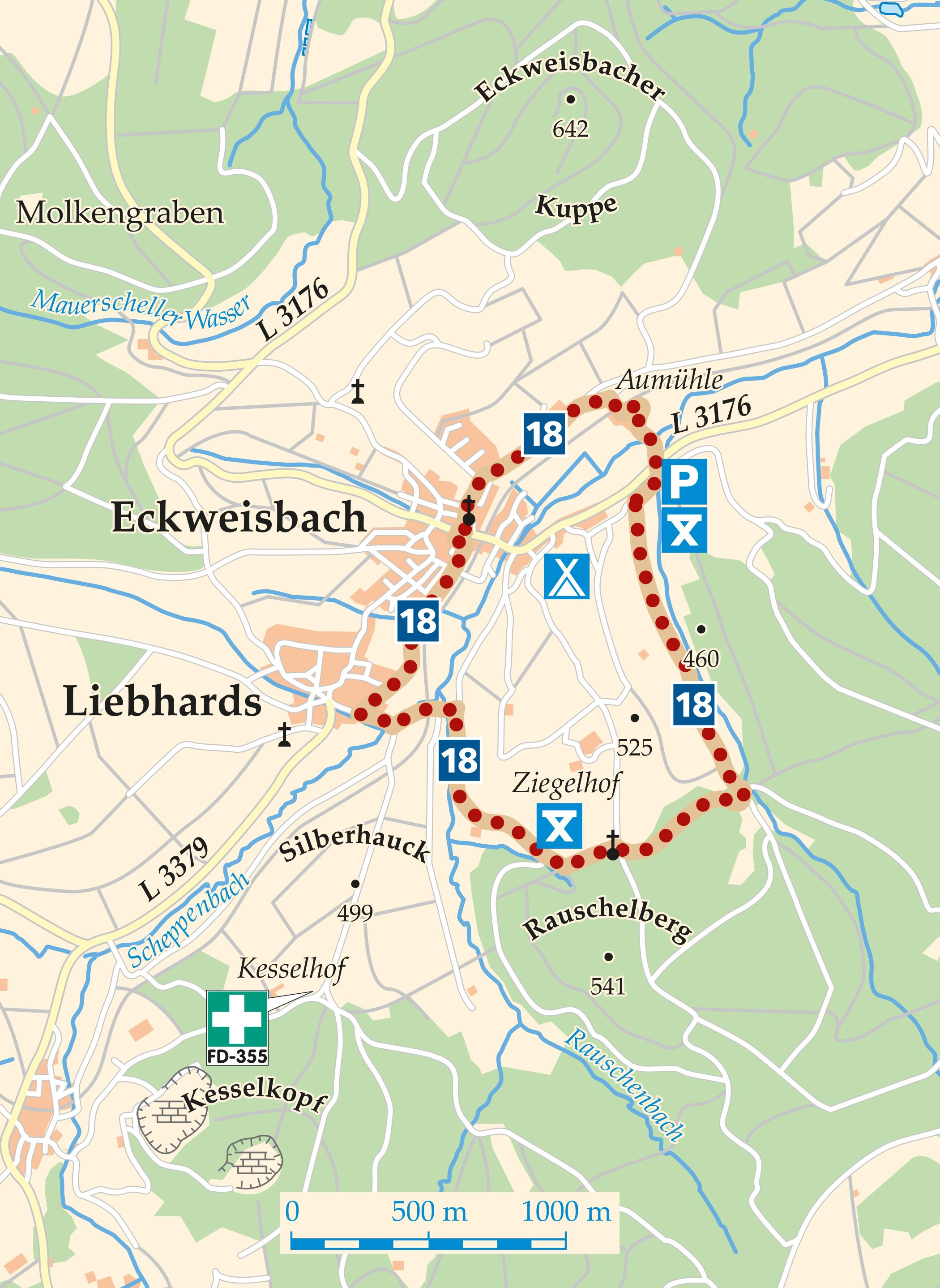 Rhön-Rundweg 18 Eckweisbach Karte