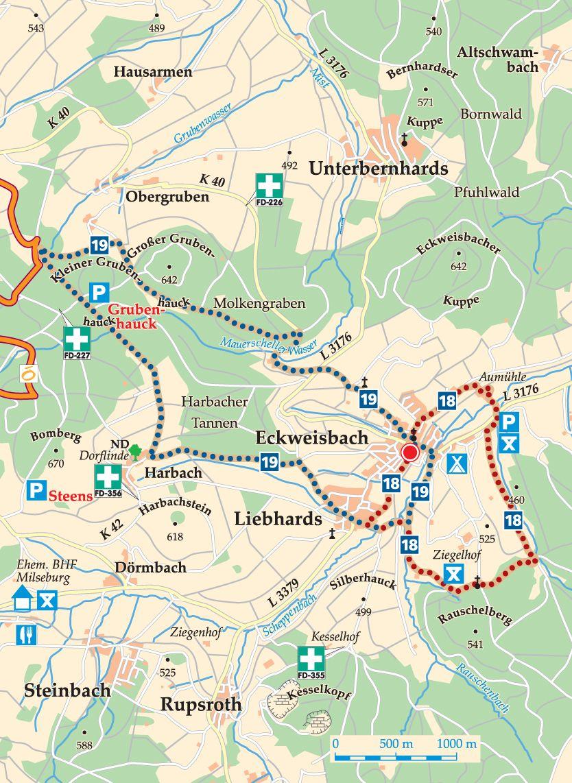 Rhön-Rundweg 19 Eckweisbach Karte