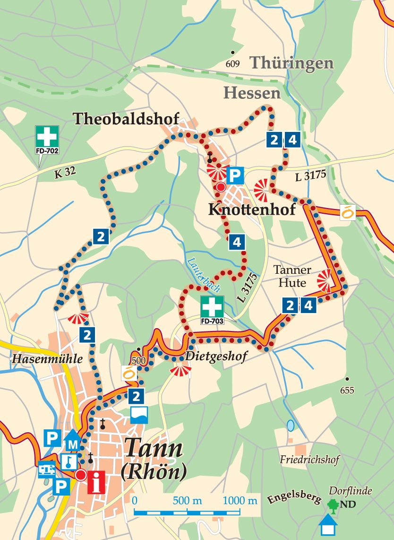 Rhön-Rundweg 4 Tann Karte