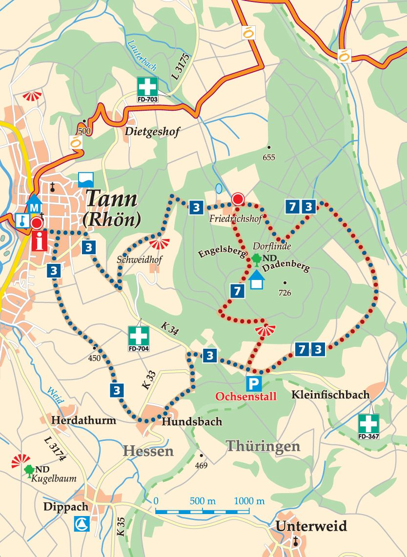 Rhön-Rundweg 7 Tann (Rhön) Karte