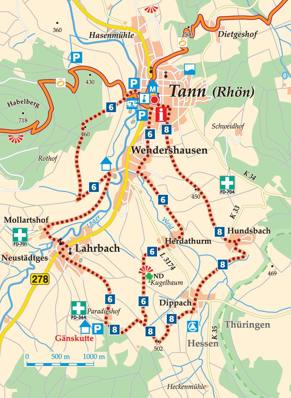 Rhön-Rundweg 8 Tann (Rhön) Karte